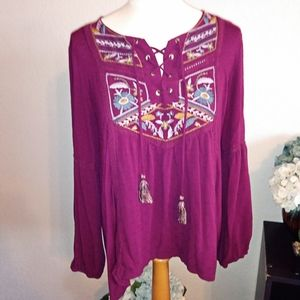 Knox Rose embroidered long sleeve peasant top sz L